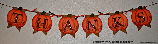 Thanksgiving, pumpkin, fall, banner, Trude Thoman, stampwithtrude.blogspot.com ,Stampin' Up!, Flowering Flourishes