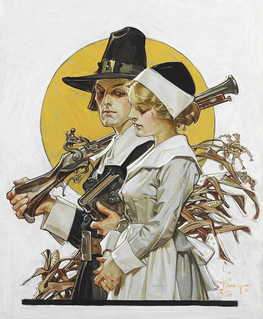 Joseph Christian Leyendecker illustration for The Saturday Evening Post, Giving Thanks (Thanksgiving Couple), 1910. A Traditional Thanksgiving and Other stories of Giving Thanks. marchmatron.com
