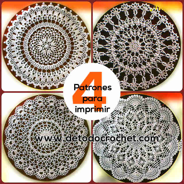 Tapetes Crochet / 4 Patrones Imprimibles | Todo crochet