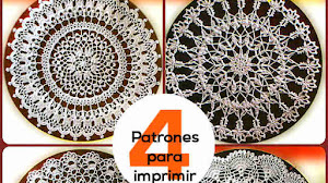 Tapetes Crochet / 4 Patrones Imprimibles