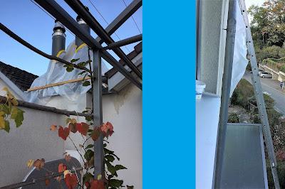 Provisorium auf Flachdach wird mit langer Leiter entfernt