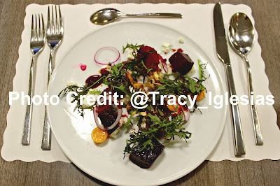 Roasted Beets, Goat Cheese, Muña, Gooseberry, Cancha, Chef Erik Ramirez, Llama Inn NYC, De Gustibus Cooking School, Macys