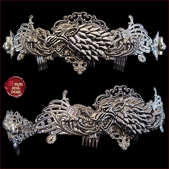 couronne Stark Winter is Coming Loup Game of Thrones Tiare Medieval Renaissance Crown Wolf Stark Circlet Fantasy Silver