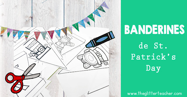 Banderines del día de San Patricio para colorear - The Glitter Teacher