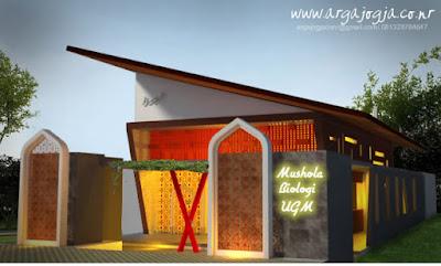 Desain Mushola Unik Atap Miring
