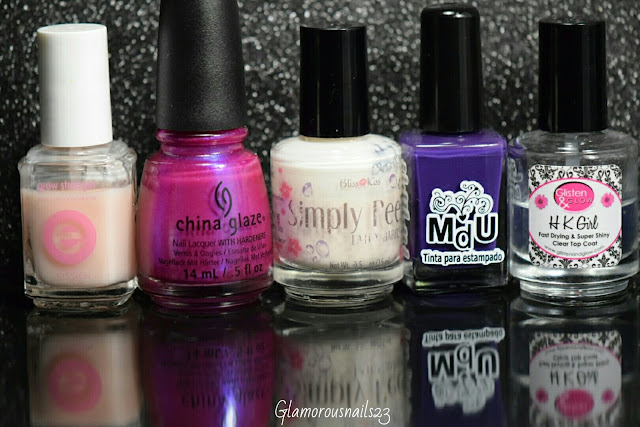 Essie Grow Stronger, China Glaze Reggae To Riches, Bliss Kiss Simply Peel Latex Barrie, Mundo De Unas Violet, Glisten & Glow HK Girl Fast Drying Top Coat