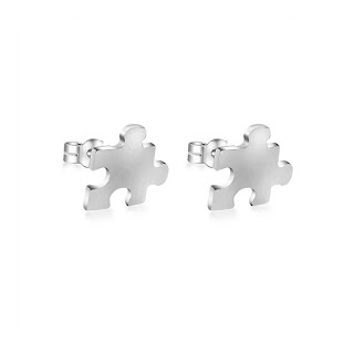 Sterling Silver Jigsaw Piece Stud Earrings