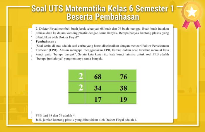 Soal UTS Matematika Kelas 6 Semester 1 Beserta Pembahasan