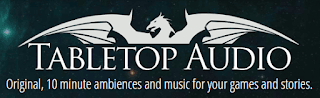 The Tabletop Audio Logo: The head, neck, and wings of a dragon spreading above the text 'Tabletop Audio: Original, 10 minute ambiences and music for your games and stories,' on a background of stars seen through a pale blue-green nebula.