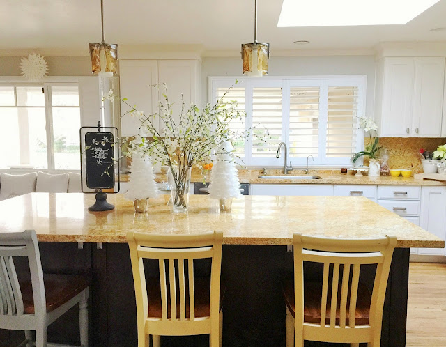 Northern California open concept home tour. kitchen, granite, plantation shutters.