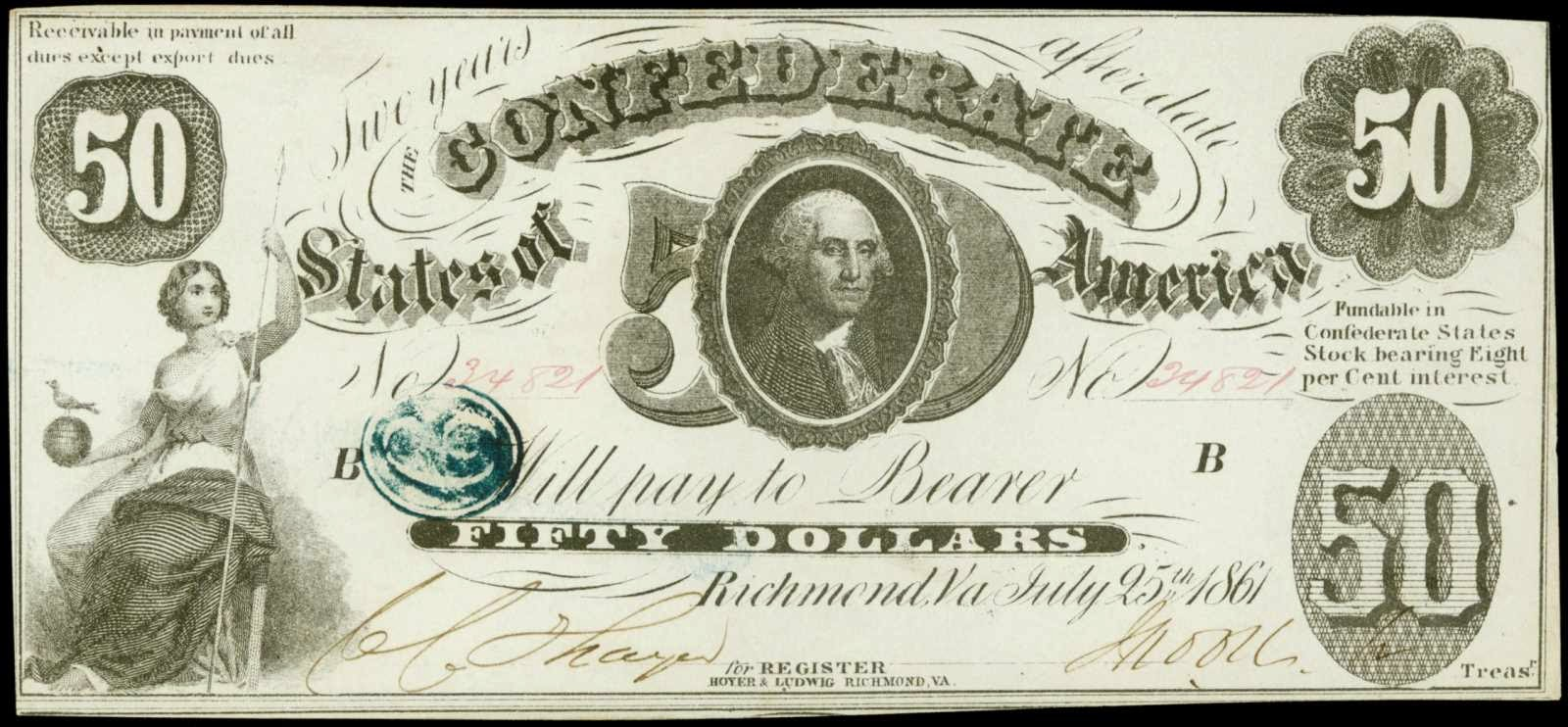 Confederate Currency 1861 50 Dollar CSA Note bill George Washington T-8
