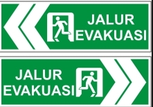 gambar contoh signage jalur evakuasi