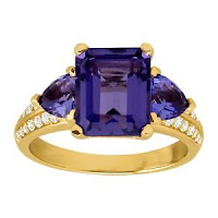Simulated Tanzanite & CZ Ring in 14K Gold-Plated Sterling Silver