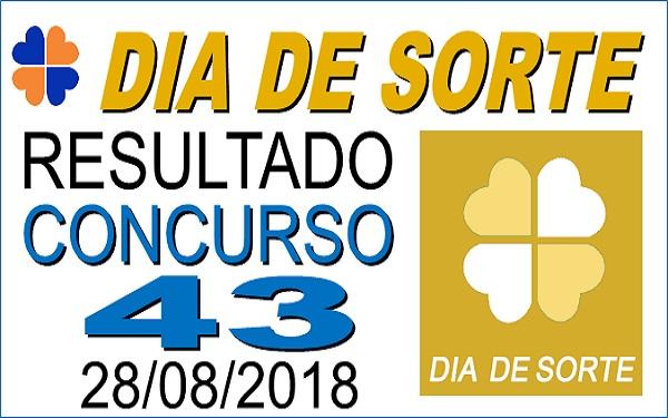 Resultado do Dia de Sorte concurso 43 de 28/08/2018 (Imagem: Informe Notícias)