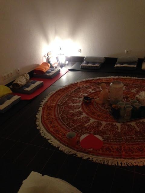 espaço preparado para meditação