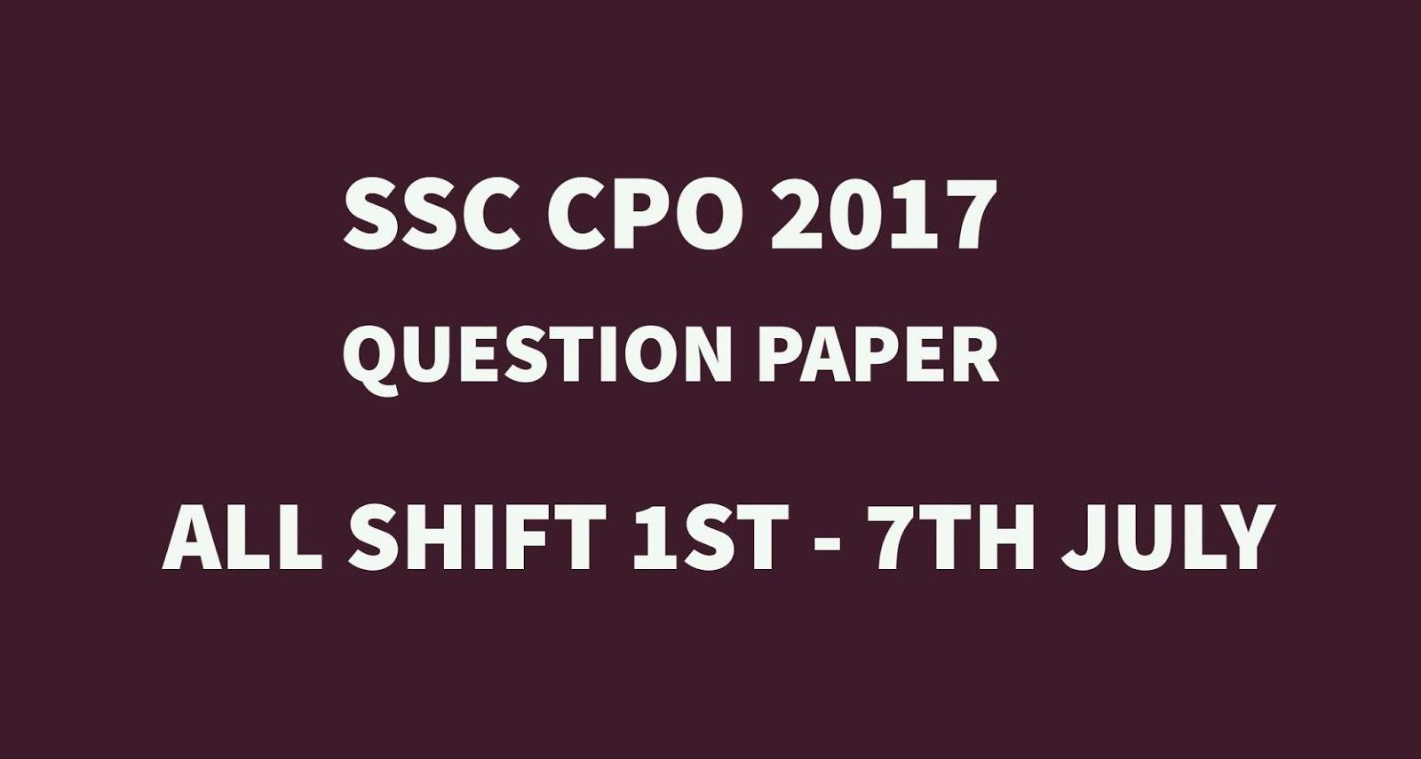 Ssc Cpo Question Paper Pdf