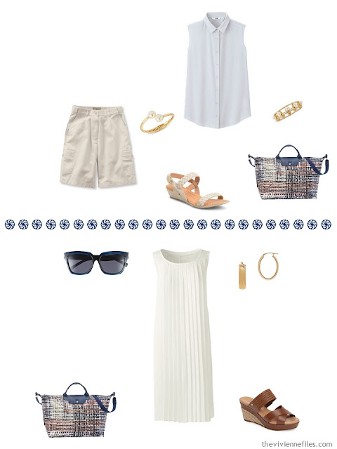 white sleeveless top with khaki shorts, ivory dress worn casually
