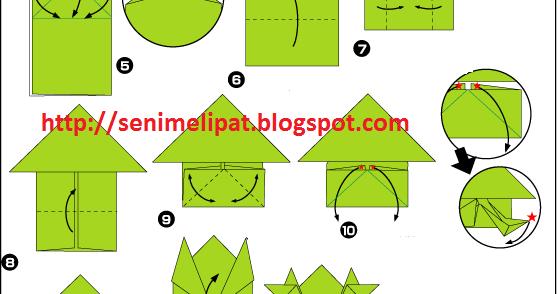 cara membuat katak dari kertas origami seni melipat