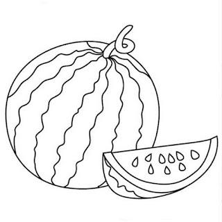 Gambar Sketsa Untuk Mewarnai Buah Semangka