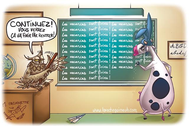 illustration pour le jour de la rentrée par le studio la vache qui meuh
