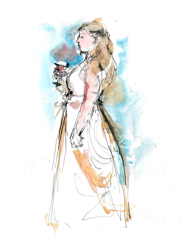 In This Sketch I Only Include To The Bride With Their Champagne But She Wasnt Alone Was Having Sorrounded By Her Friends
