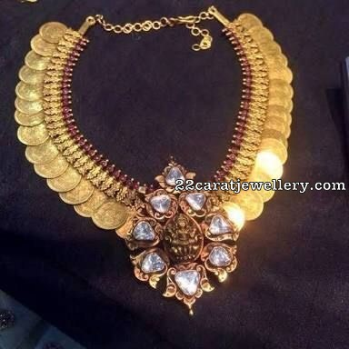 Kasu Necklace with Lakshmi Jhumkas