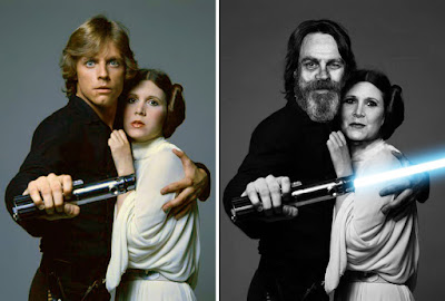 Mark Hamill y Carrie Fisher como Luke Skywalker y Princess Leia