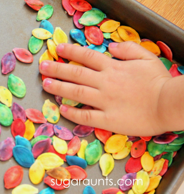 How To Dye Pumpkin Seeds For Sensory Play