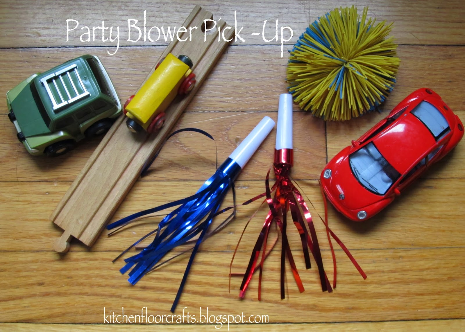 "Party Blower: Kitchen Floor Crafts: ""Party Blower Pick-Up"" Clean Up Trick"