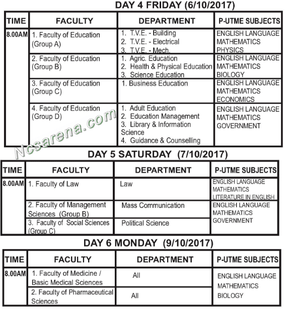 ESUT New 2017/2018 Post-UTME Screening Time-Table Schedule - 2