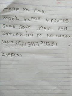 Surat Zhafran kepada pemilik mobil yang tergores.