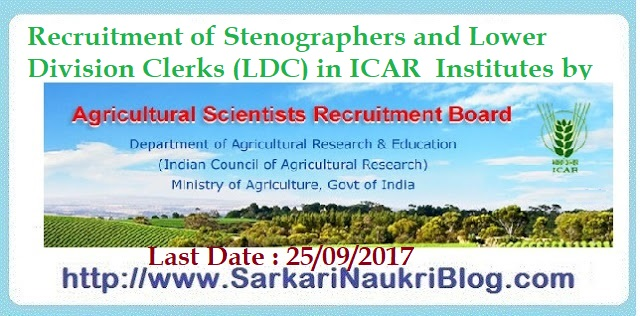 Steno Clerk Recruitment ICAR ASRB
