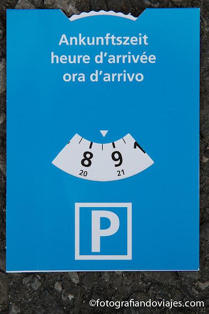 disco azul aparcamiento Suiza