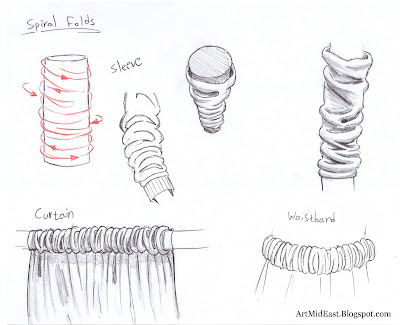 how to draw folds spiral