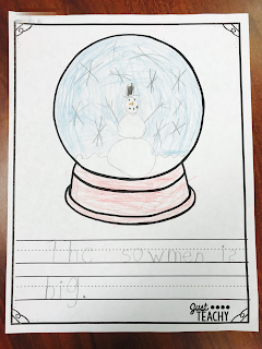 Snow Globe Writing Freebie, www.justteachy.com