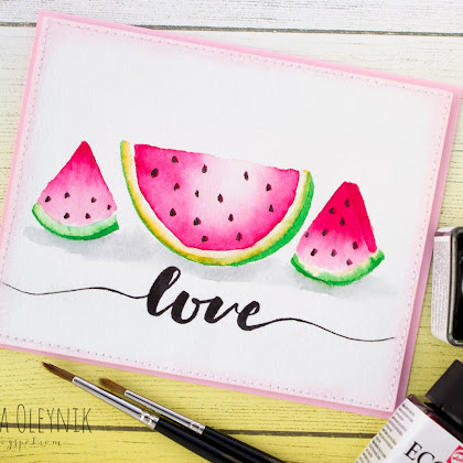 Watercolor water-melon for WoodCraft