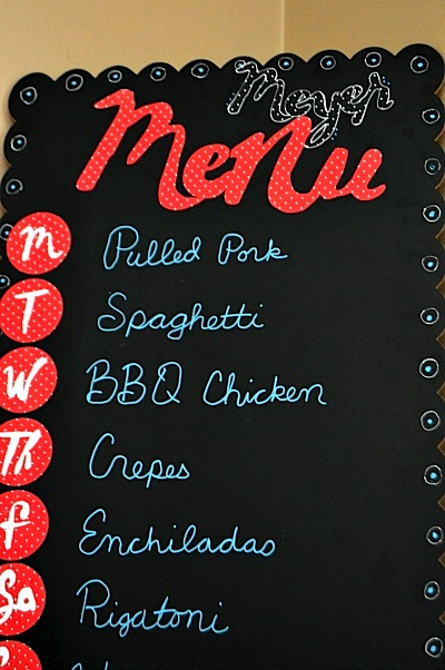 SRM Stickers Blog - DIY Menu Board by Christine - #patternedvinyl #vinyl #chalkboard #markers #DIY