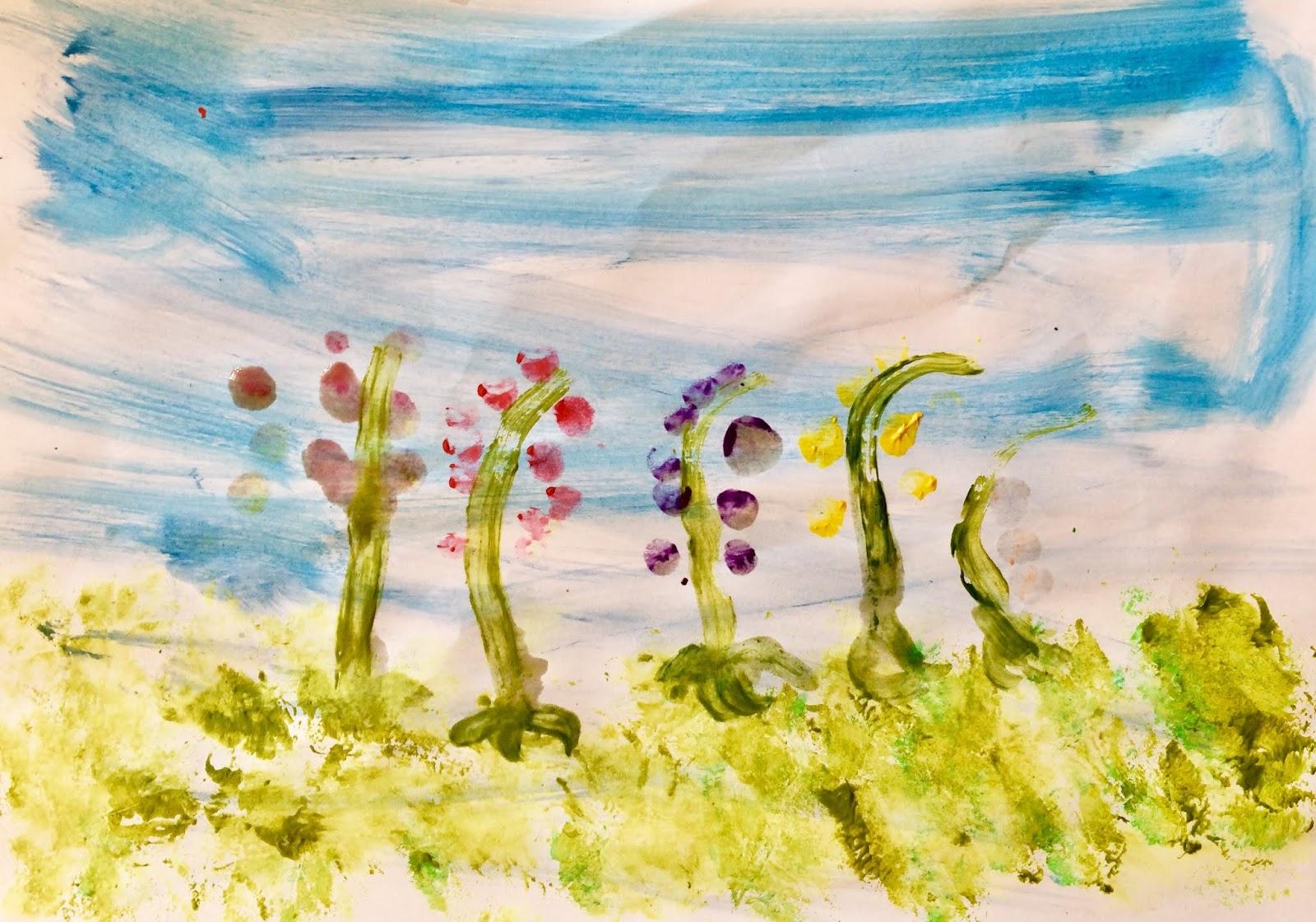 """""""Flori în luncă""""- prima pictură la clasa pregătitoare"""