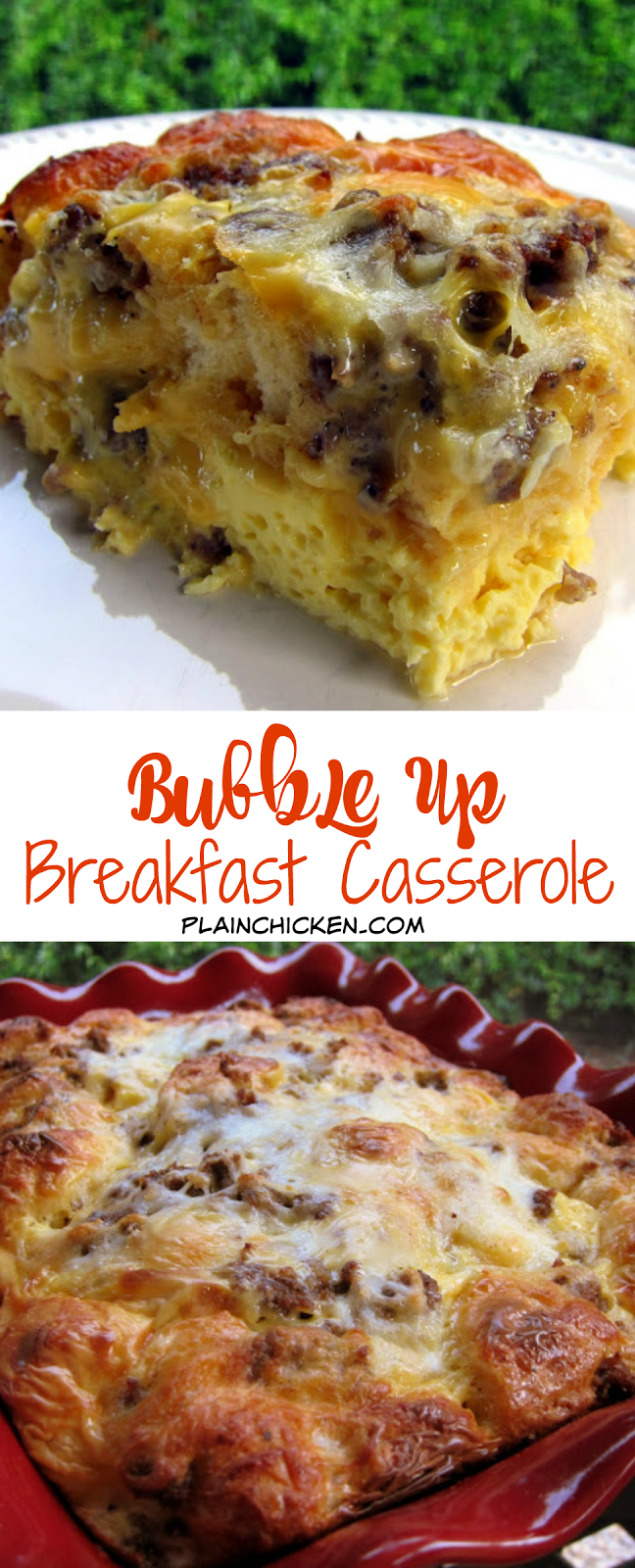 Bubble Up Breakfast Casserole - sausage, eggs, cheese and biscuits. SO good! Great for baby showers, overnight guest and the holidays. Only takes minutes to make. Quick and easy breakfast recipe!