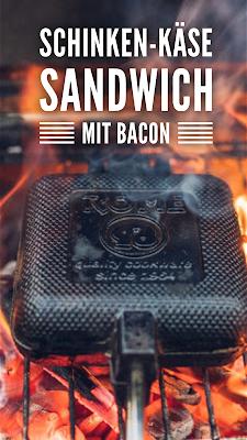 Pie-Iron  Sandwicheisen  Schinken-Käse-Sandwich mit Bacon  Sandwiches am Lagerfeuer  Outdoor-Kitchen 20