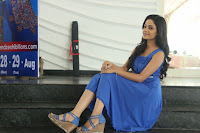 Divya Nandini stunning Beauty in blue Dress at Trendz Exhibition Launch ~  Celebrities Galleries 030.JPG