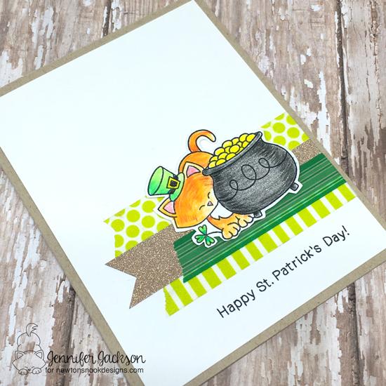 Happy St. Patricks Day Cat Card by Jennifer Jackson   Newton's Pot of Gold Stamp set by Newton's Nook Designs #newtonsnook