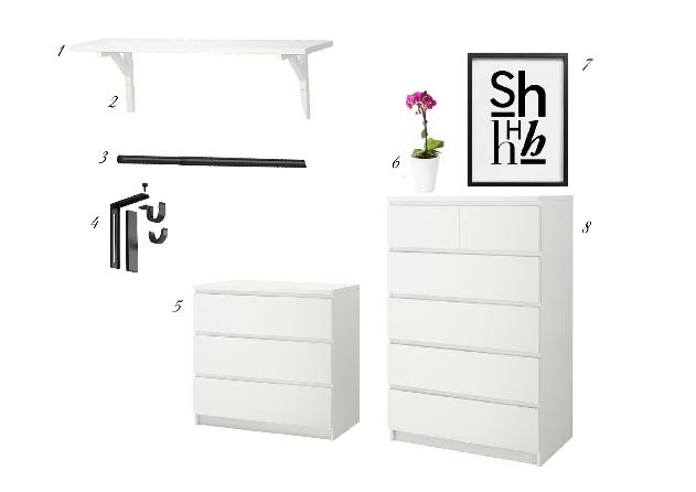 Selección de productos para un vestidor en la habitación