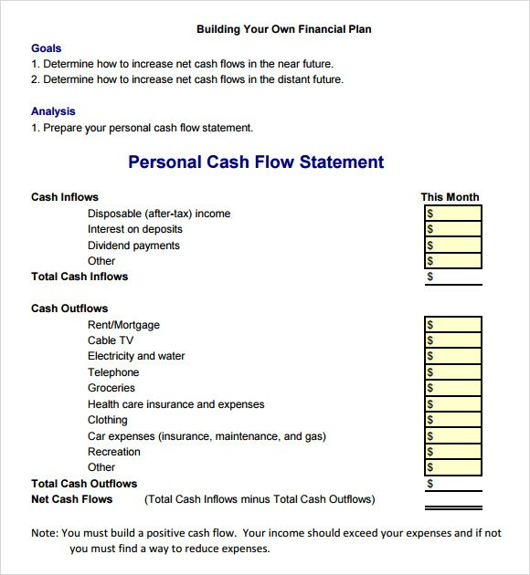 Cash Flow Statement  Example Templates  Excel Template