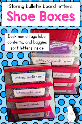 Use shoe boxes to organize and store bulletin board letters!
