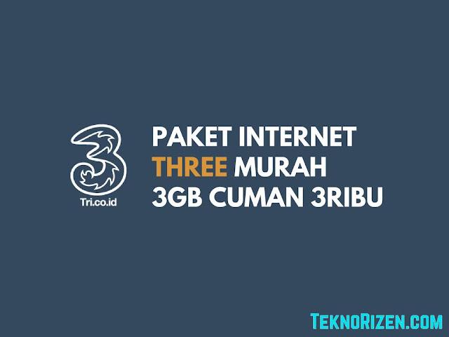 Tiap bulannya selalu ada saja harga paket internet yang di diskon Paket Internet Murah 3 Tri 3GB Cuman Rp10000 Terbaru