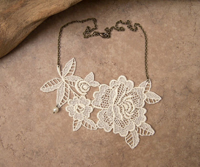 lace floral necklace