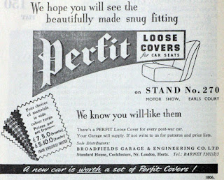 Perfit Loose Seat Covers 1951 Motor Show advert