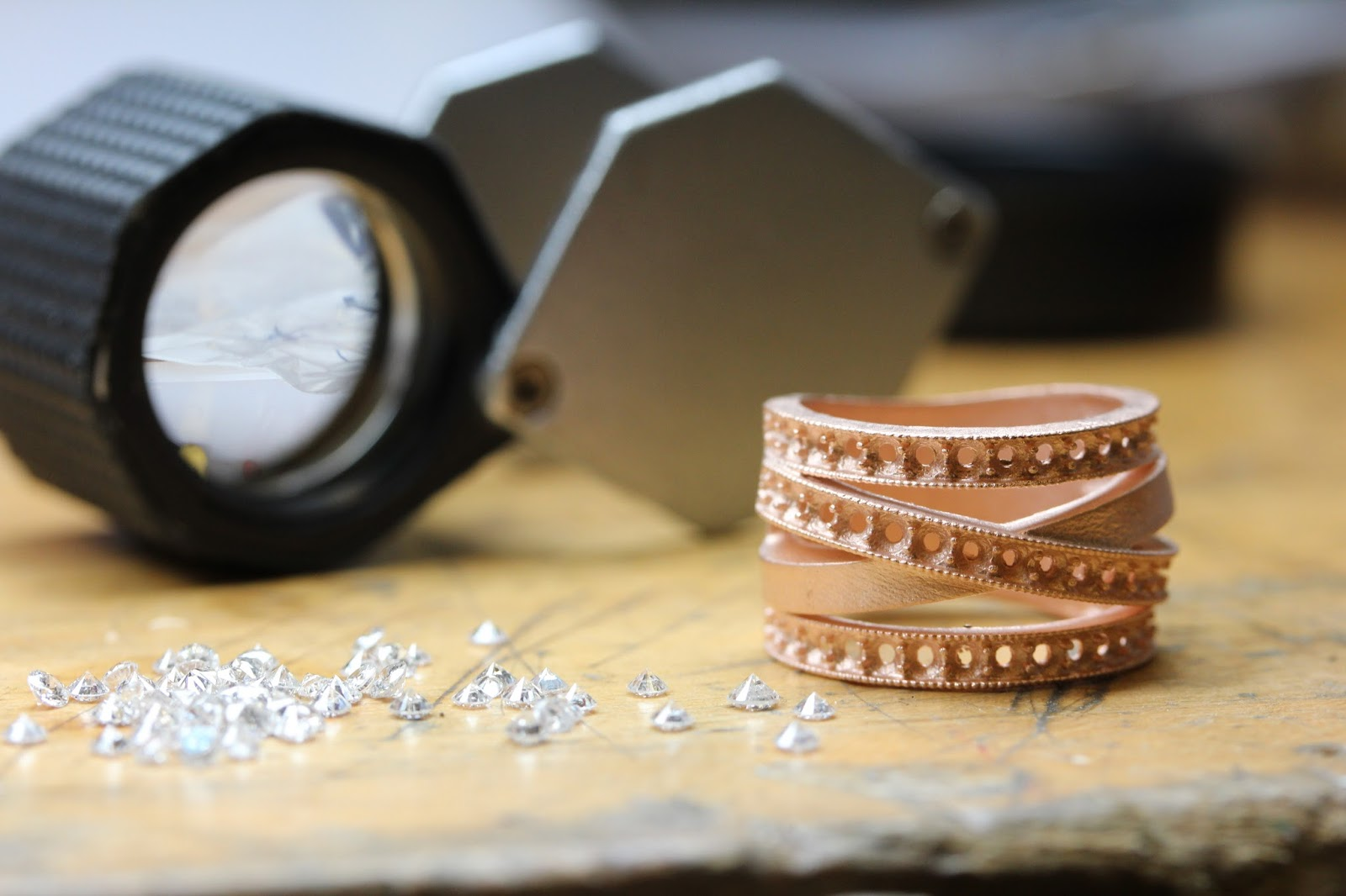 Rose Gold Casting, Raw Casting, OKG Jewelry, Custom Design Jeweler, Criss Cross Diamond Ring
