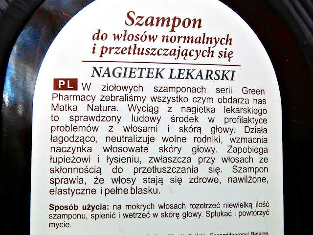 Green Pharmacy - Szampon do włosów normalnych i przetłuszczających się - Nagietek lekarski, etykieta